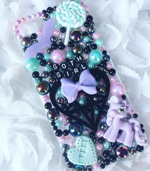 Pink black pastel goth creepy lollipop decoden case for iphone  samsung