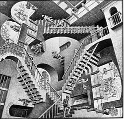 Relativity, 1953 by M.C. Escher, one of the greatest illusion painters of all time. Escher is famous for creating pieces like this architectural environment that when closely inspected are impossible to recreate in reality. His work has influenced many other artists, movie makers and scientists.