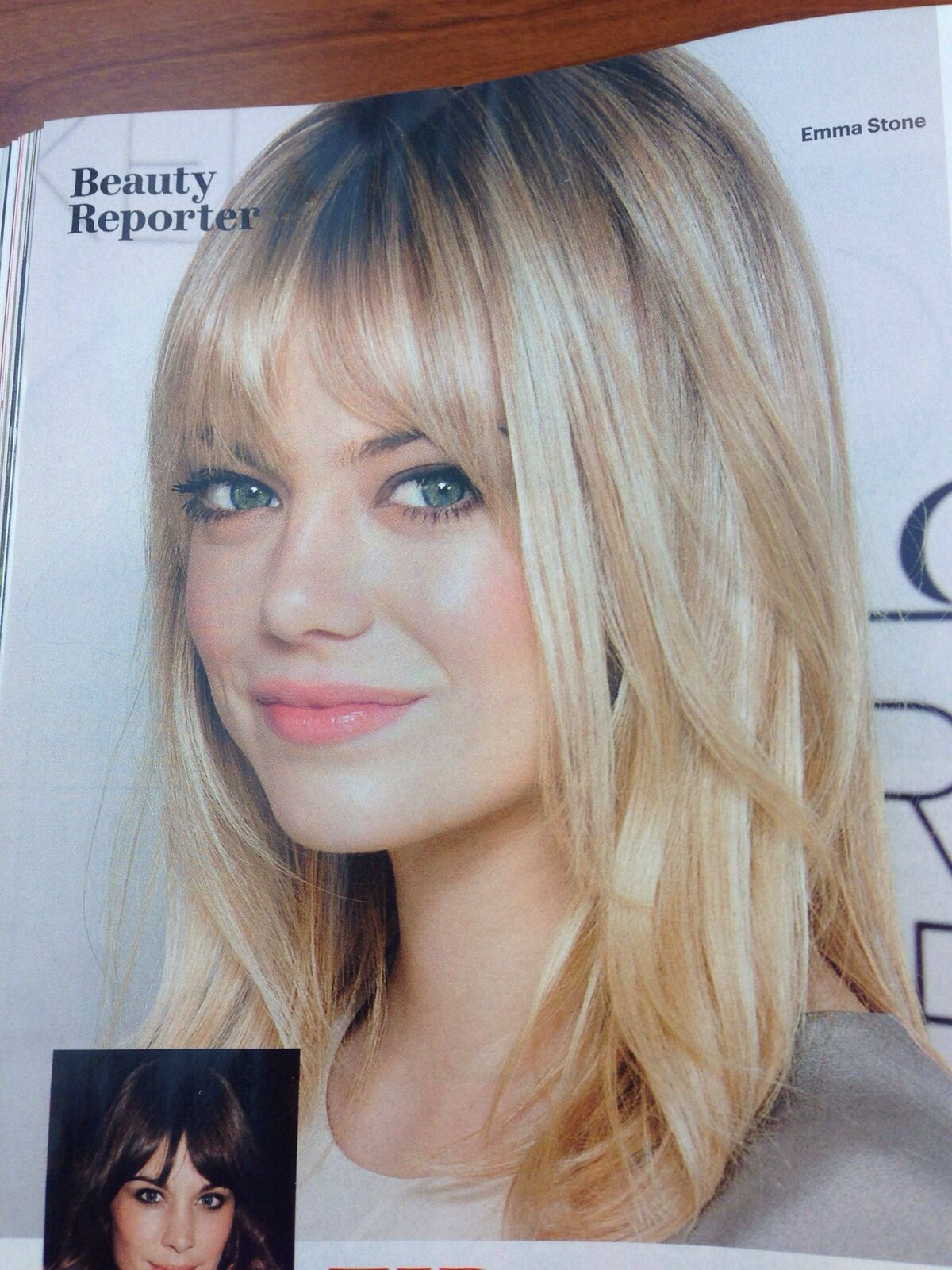 Beautiful as a Red head or a Blonde with bangs...Emma Stone can wear both beautifully.