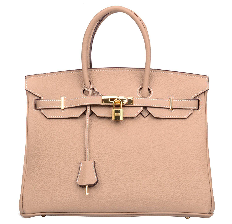 b1c065a26d Ainifeel Women s Padlock Handbags with Golden Hardware (30 cm