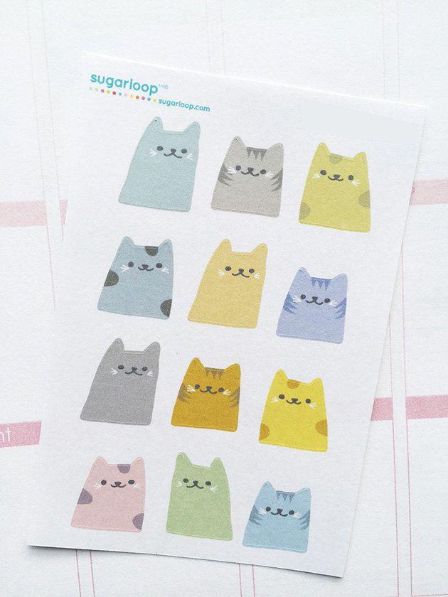 12 süsse Kawaii Katze Planer Aufkleber, Sticker Babyschuhe, Katzenklo reinigen, Aufkleber, Tierpflege, Aufgabe Aufkleber, Sticker Katze, Katze Liebhaber, S1CAT1