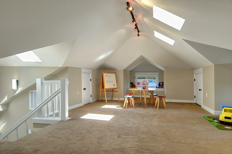 attic playroom- note the drywall angles and the paint job... i also