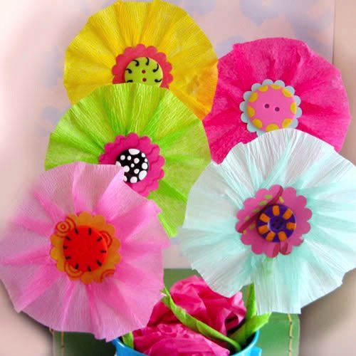 Tissue flowers maybe a spring craft to do with my girls