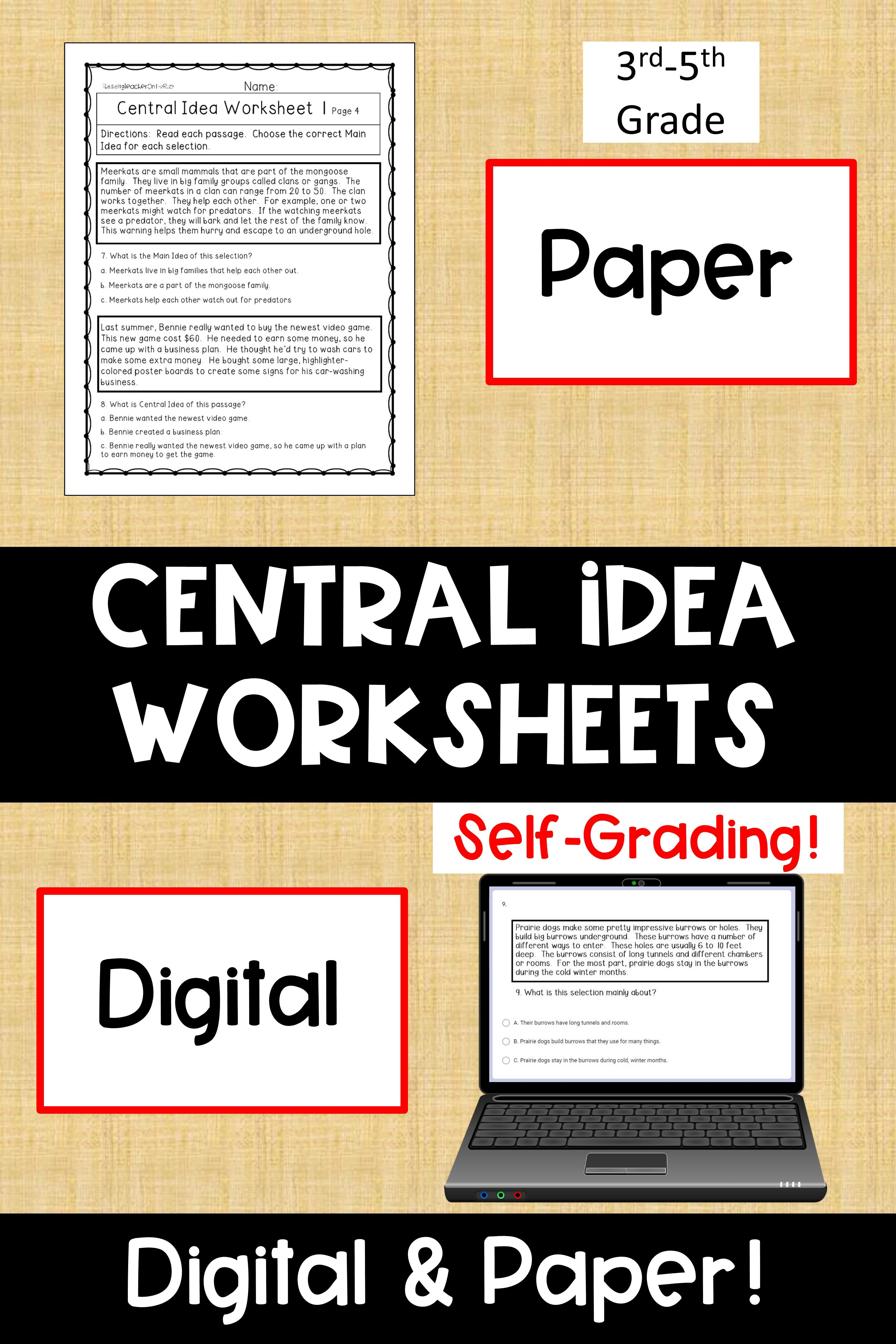 Central Idea Worksheets Digital Print Main Idea Worksheet Teacher Tools Printable Worksheets [ 4500 x 3000 Pixel ]