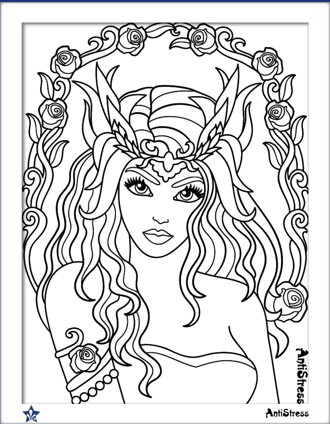Pin On Beautiful Women Coloring Pages For Adults [ 1369 x 1064 Pixel ]