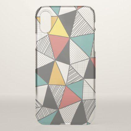 Geometric Triangles Colored Line  iPhone X Case - pattern sample design template diy cyo customize