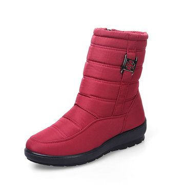 e3696ad88109 Big Size Metal Waterproof Zipper Mid Calf Casual Boots