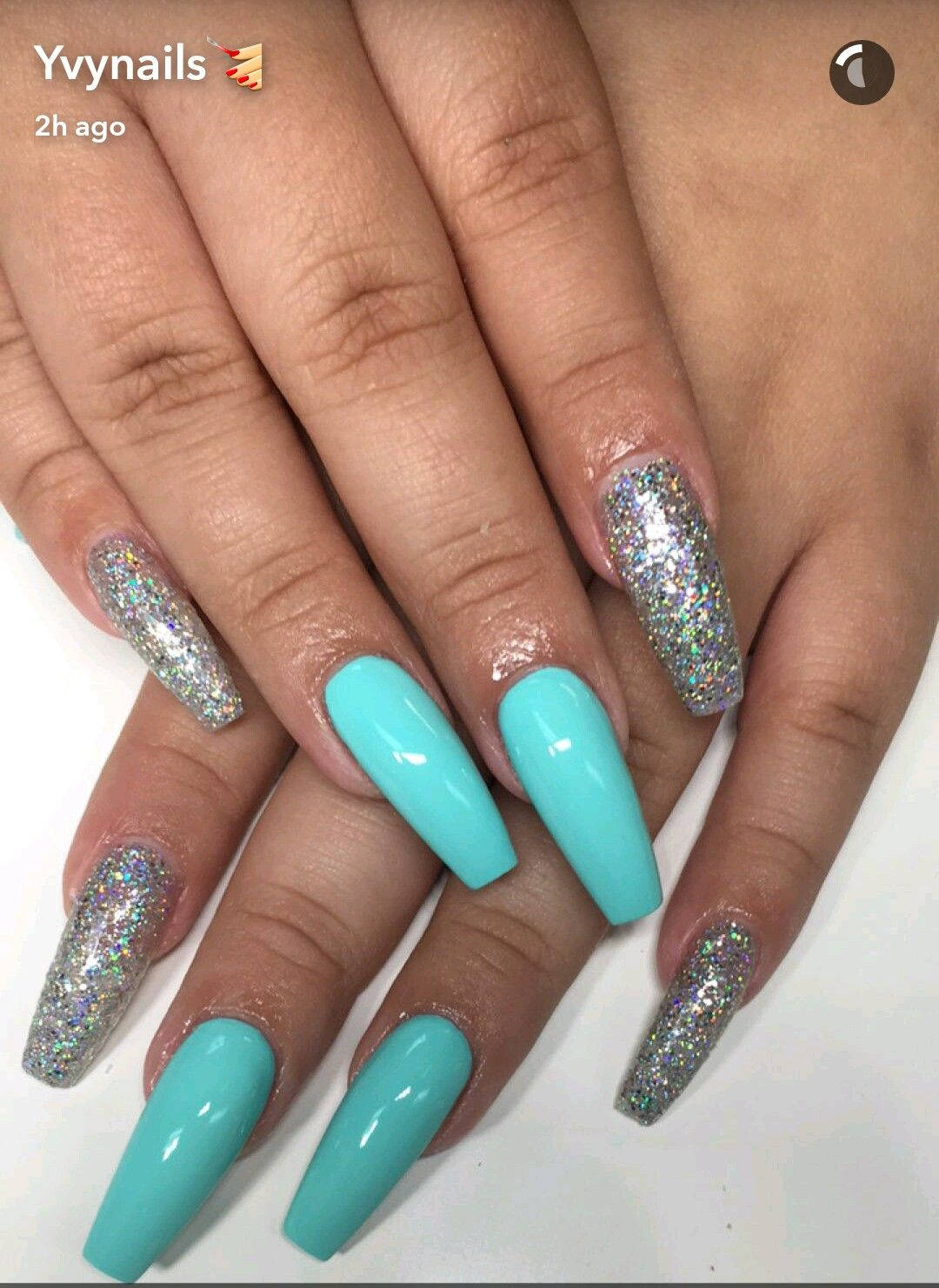 Turquoise Blue And Silver Glitter Coffin Nails Blue Glitter Nails Turquoise Nails Silver Glitter Nails