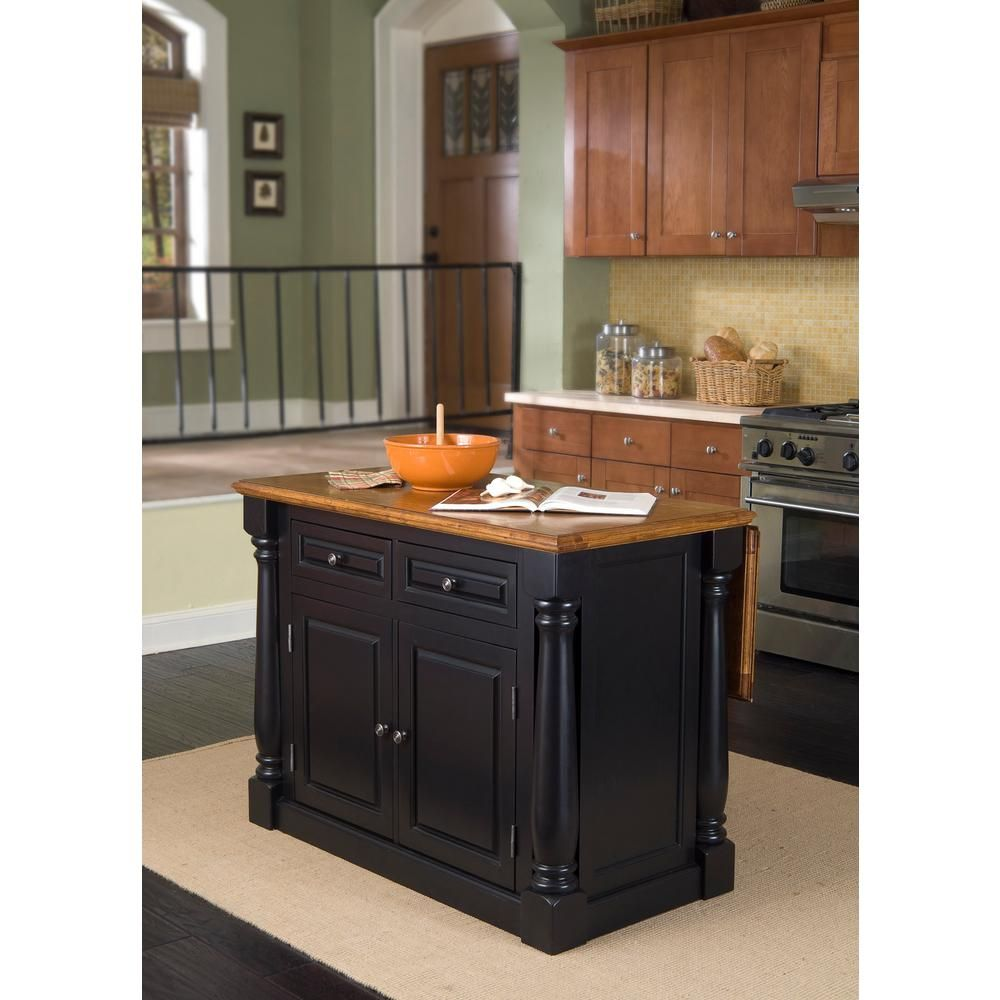 Homestyles Monarch Black And Oak Kitchen Island 5008 94 The Home Depot Kitchen Island With Granite Top Black Kitchen Island Kitchen Island With Seating