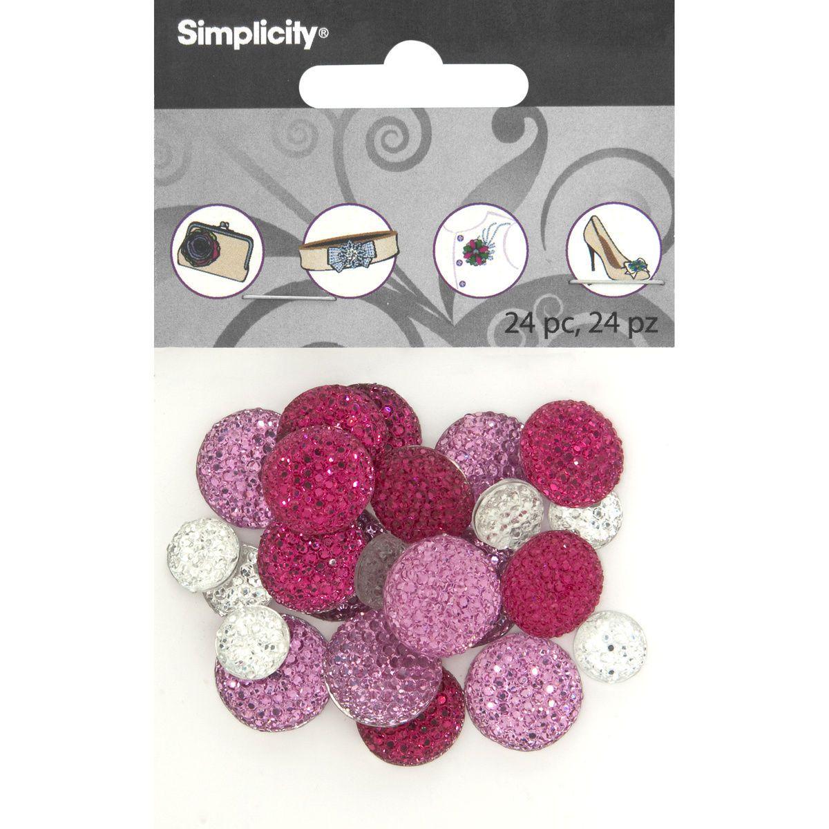 DIY Accessories Round Pave Gemstones, 24 pcs - Pink