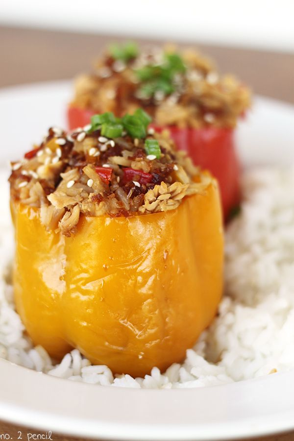 Asian Style Slow Cooker Stuffed Bell Peppers Recipe Stuffed Peppers Food Recipes Healthy Crockpot Recipes