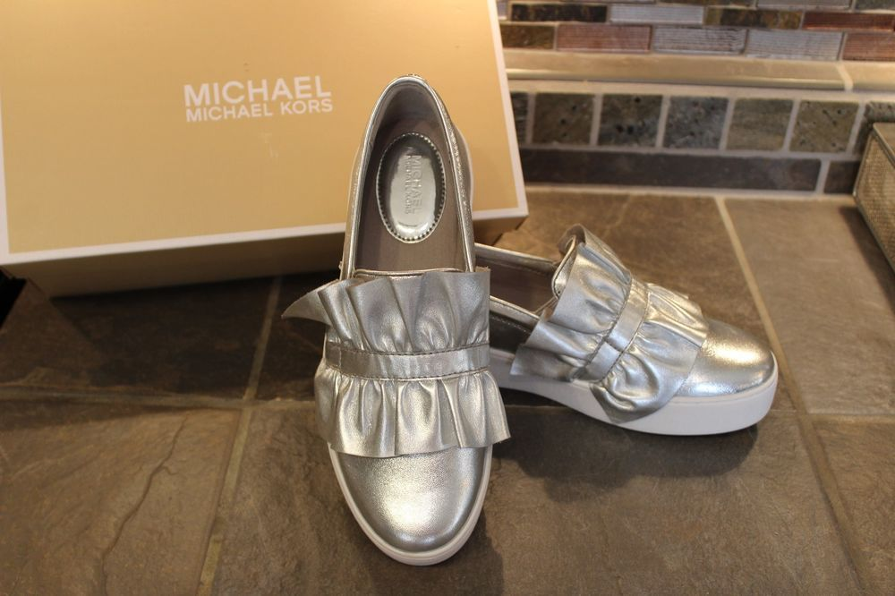 aba0e7efc537 NEW GORGEOUS MICHAEL KORS BELLA RUFFLED SILVER METALLIC SLIP-ON SNEAKERS  8.5 M  fashion  clothing  shoes  accessories  womensshoes  flats (ebay link)