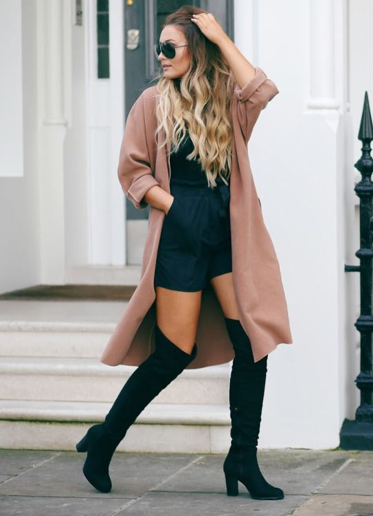 How to Wear Over-the-Knee Boots In Fall | Beige coat, Knee boot ...