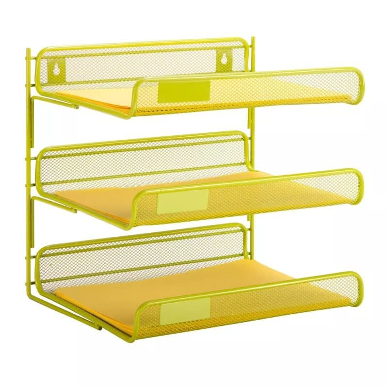 Honey-Can-Do OFC-04879 Lime Green 3-Tier Horizontal File Organizer