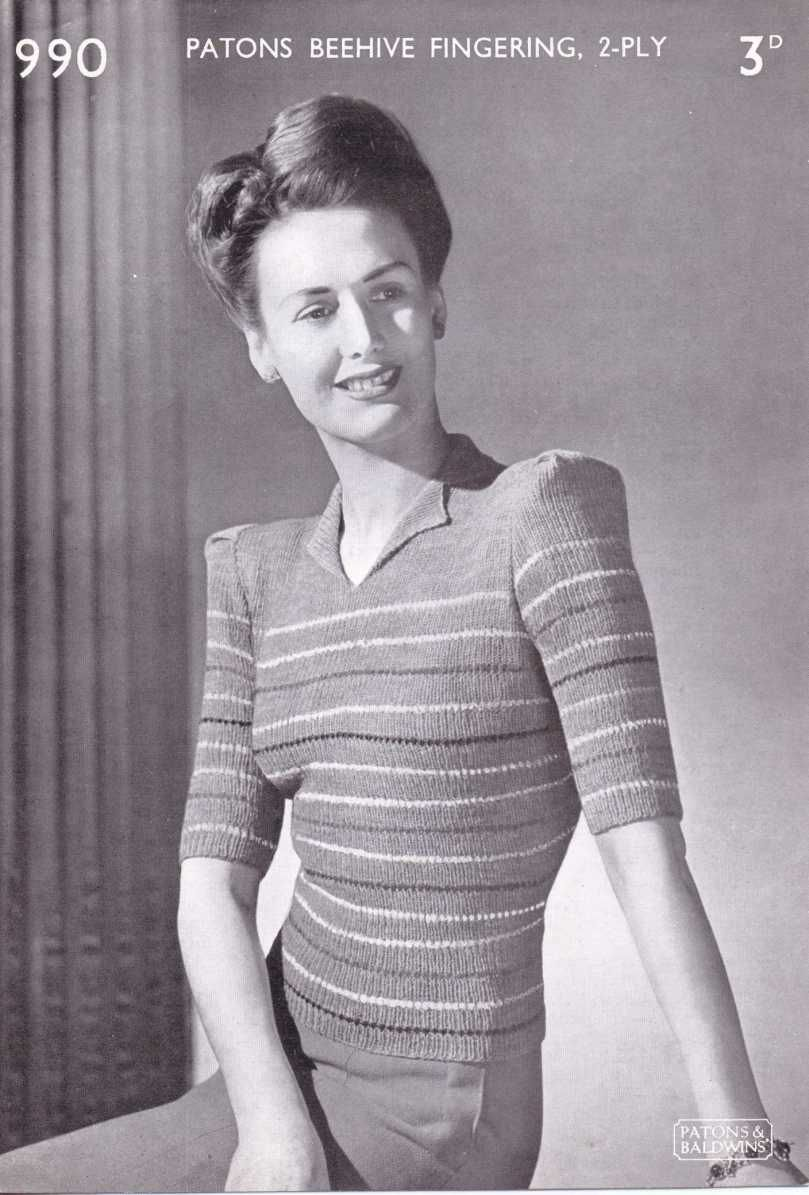 Free 1940\'s Knitting Pattern - Womens Striped Blouse Patons No.990 ...