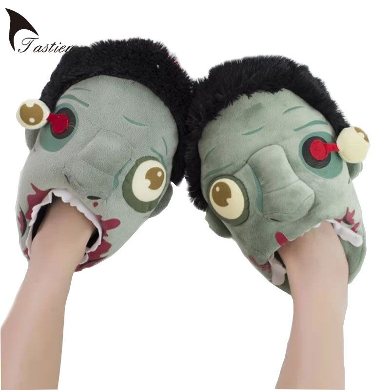 185809a58b1fbd Halloween Supplies Gift Zombie Slippers Cartoon Women Winter Home Slippers  For Indoor House Warm Shoes Plush