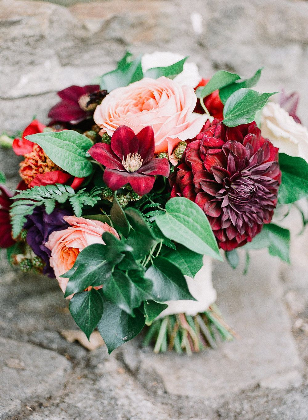 Romantic, burgundy, marsala and peach bridal bouquet of romantic antike garden roses, dahlias, peonies and clematis by Compass Floral | Fallbrook Treehouse, Fallbrook