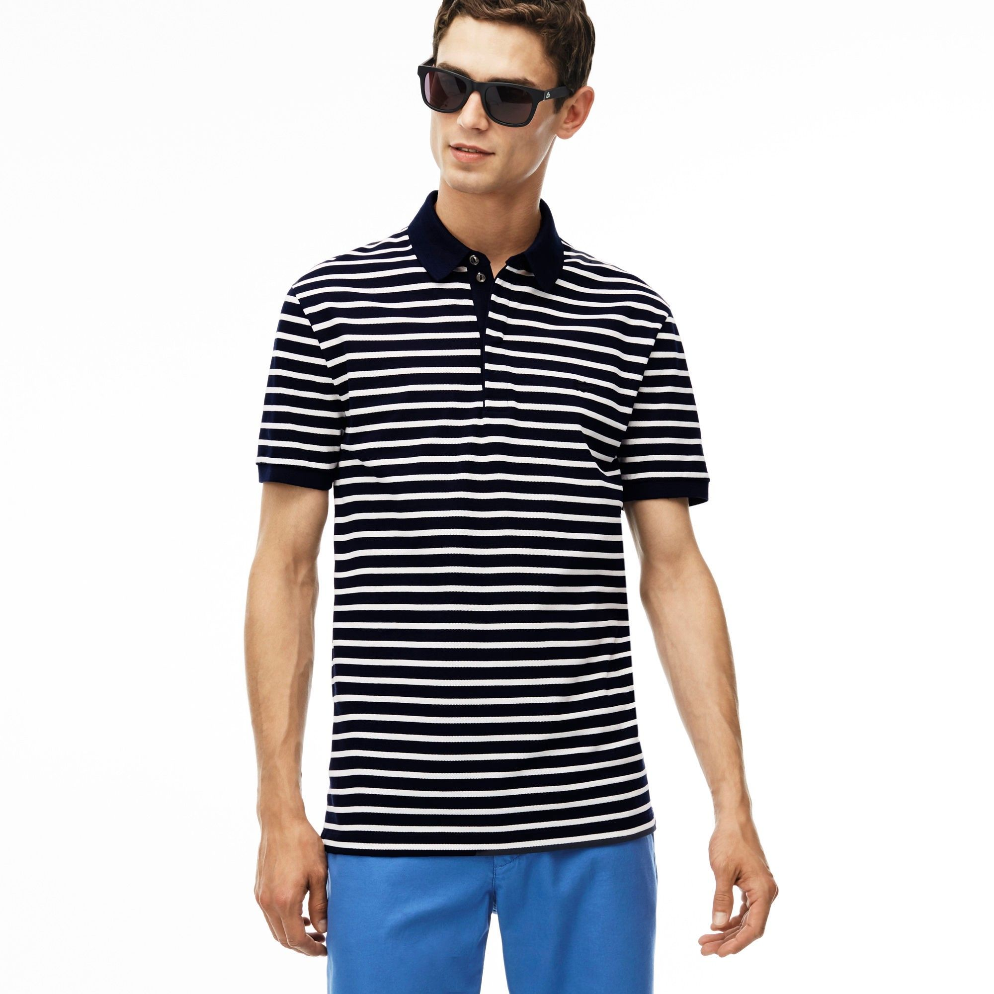 8c09a5ee01e985 LACOSTE Men S Slim Fit Striped Cotton Petit Piqué Polo Shirt - Navy Blue Cake  Flour Whit.  lacoste  cloth  all
