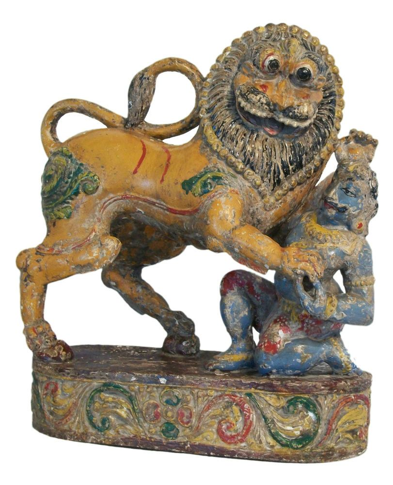 Antique Rajasthani Lion & Hunter - Hand Carved & Painted - India - 17th Century | eBay