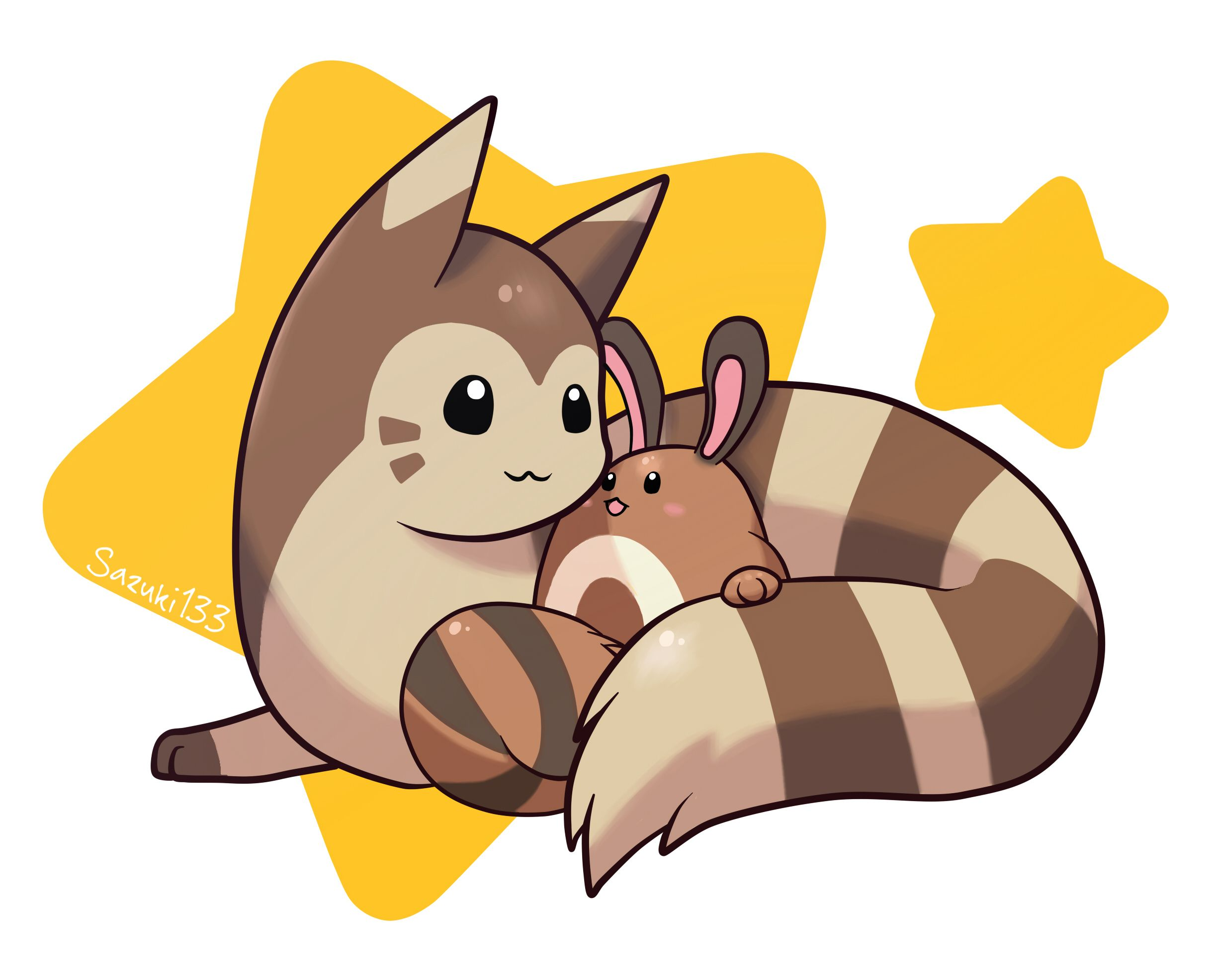 Ilustration Of Furret And Setret Pokemon Cute Pokemon Pictures Pokemon Teams Pokemon Pictures