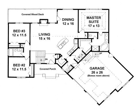 Plan 1683 3 bedroom ranch w bonus room above oversized for 2 bedroom house plans with bonus room