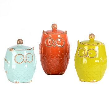 Owl Canister, Set Of 3