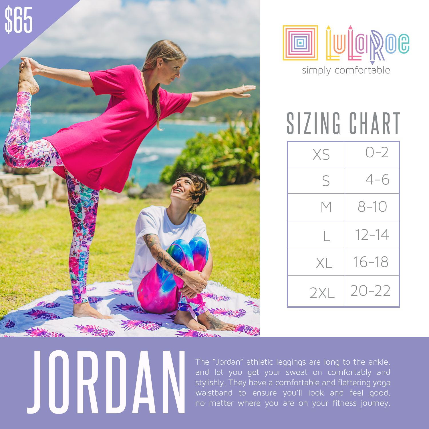 Check out this size chart for LuLaRoe Jordan! If you need any help with your