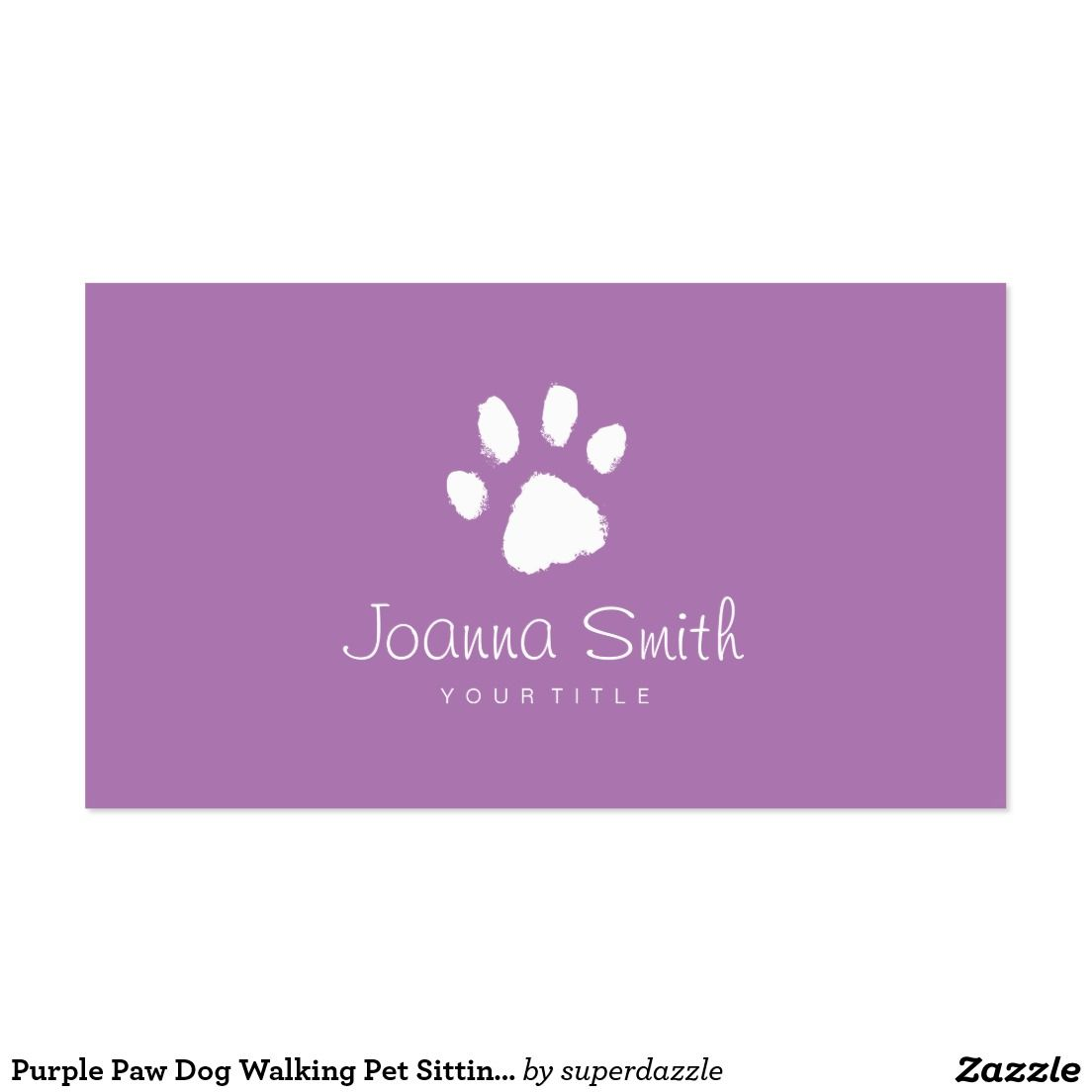 Purple Paw Dog Walking Pet Sitting Vet Appointment Business Card ...