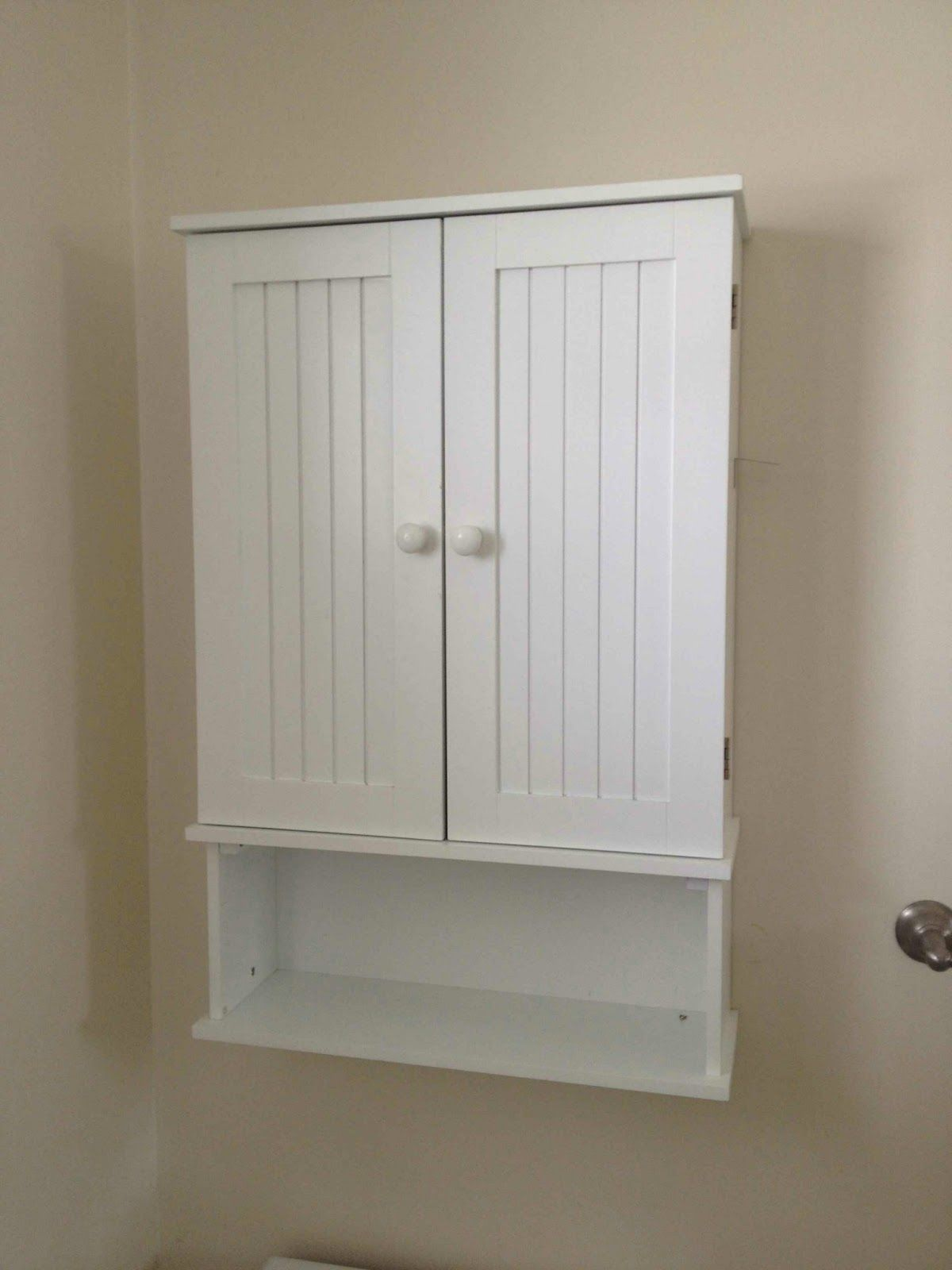 Built in bathroom wall storage - Amazing White Wooden Double Door And Single Shelves Wall Mount Cabinet Over Toilet Storage Attach At