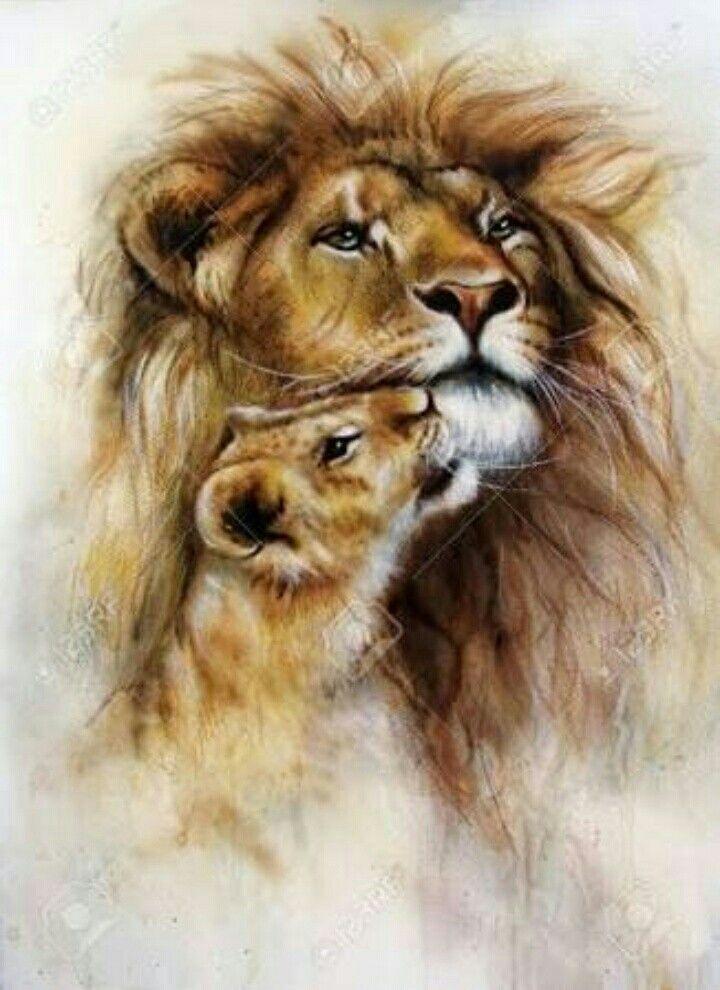 León y su bebé   Para pintar   Pinterest   León, Bebé y Tatuajes
