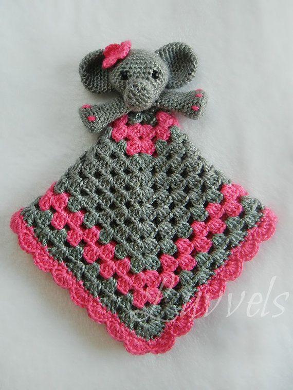 Elephant Lovie Hot Pink And Grey Luvvels Crochet Lovey