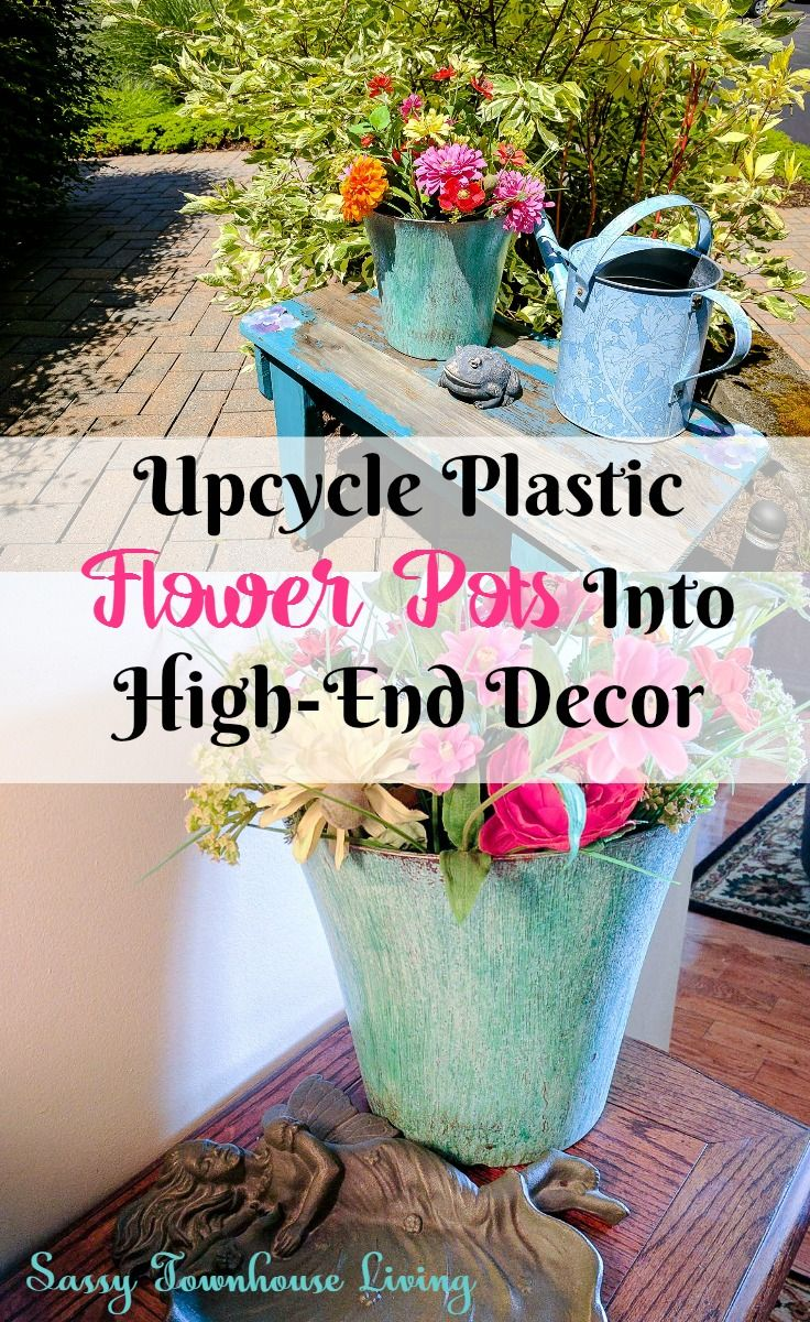 Upcycle Plastic Flower Pots Into High End Decor Plastic Flower Pots Flower Pots Upcycle Plastic