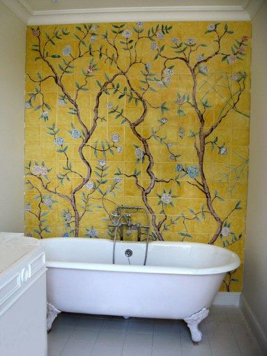 Click On Any Picture For An Enlargement You Can Then Navigate Through The Gallery By Clicking On T Yellow Bathroom Tiles Wallpaper And Tiles Painting Bathroom Bathroom tile over wallpaper