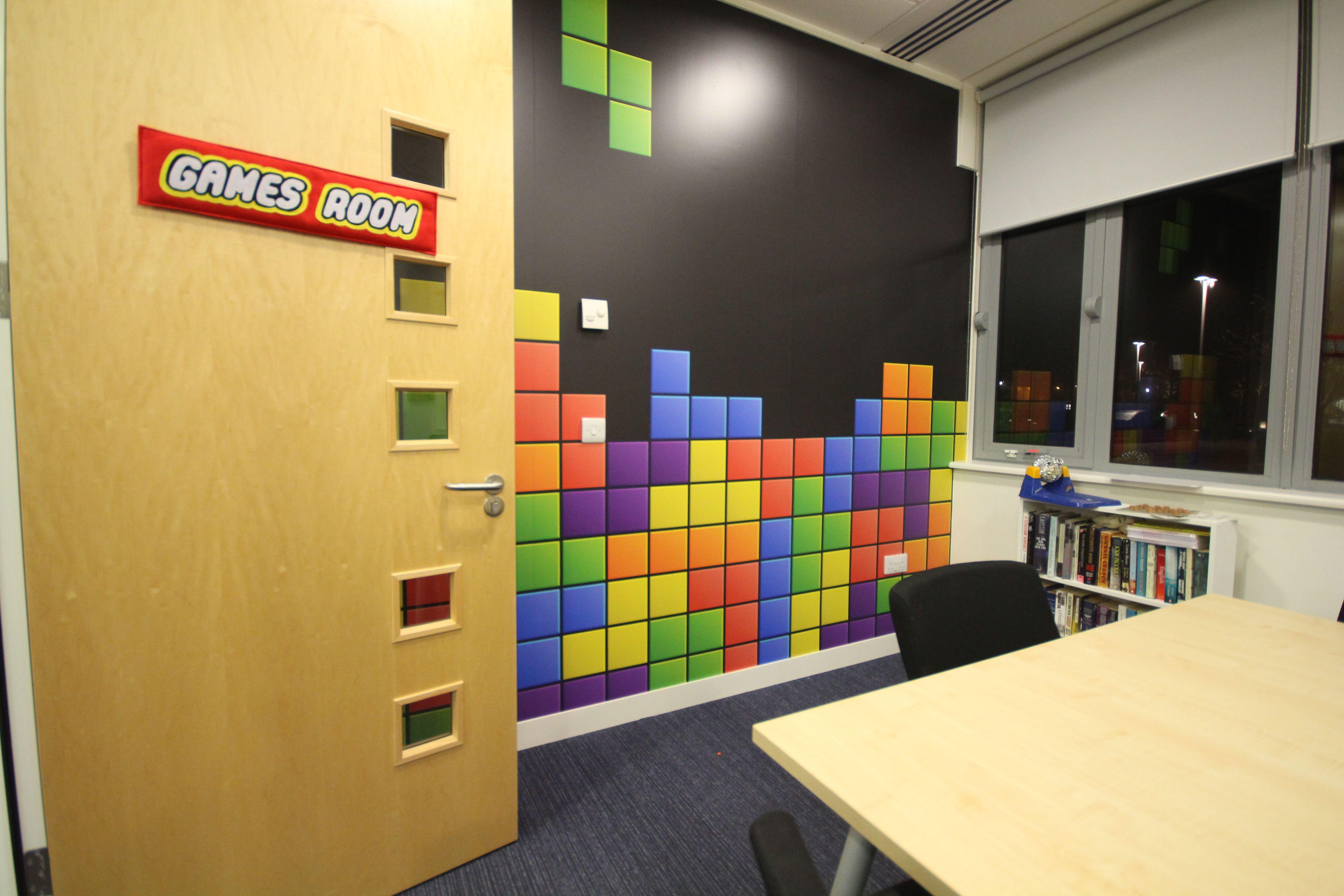 tetris style gaming wall mural full colour digitally printed office branding - Tetris Planken