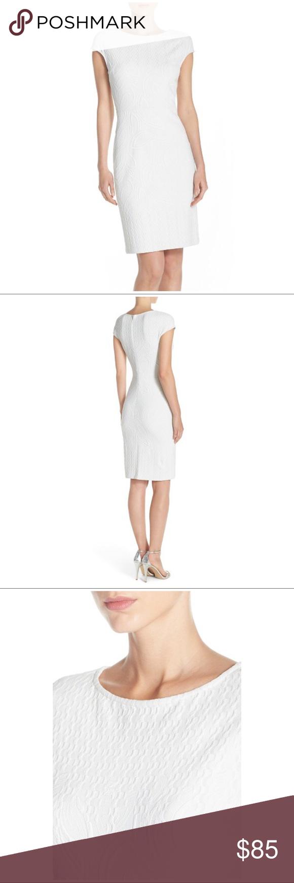 Julia jordan white jacquard sheath dress nwt monochrome hand