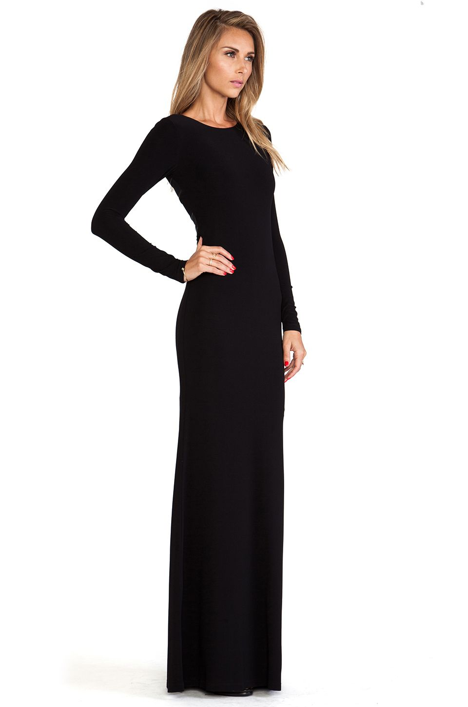 Alice olivia long sleeve maxi dress in black outfit pinterest