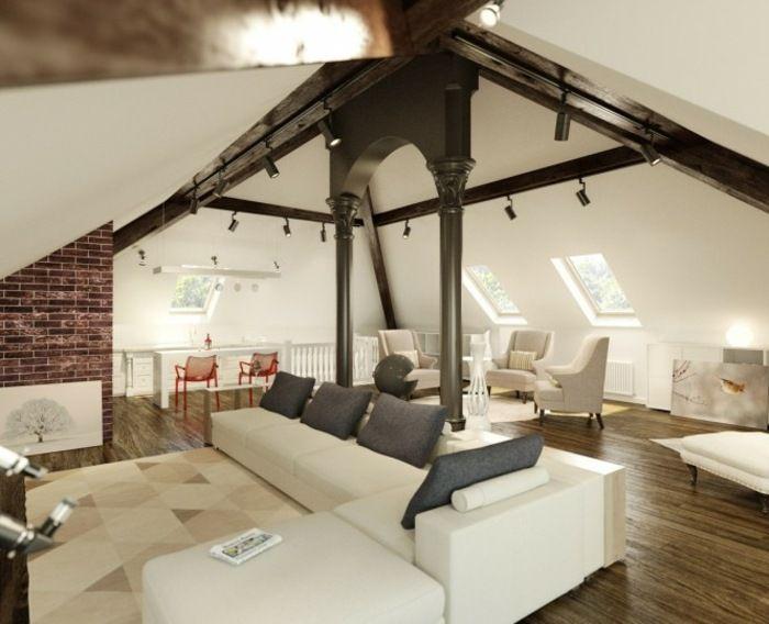 Wohnzimmer Laminatboden Dachfenster weiß Dachschräge 2 OG - wohnzimmer design weiss