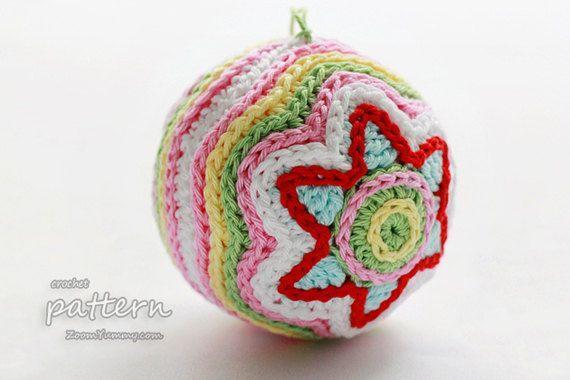 Crochet Pattern Colorful Christmas Star Ball Pattern von ZoomYummy ...