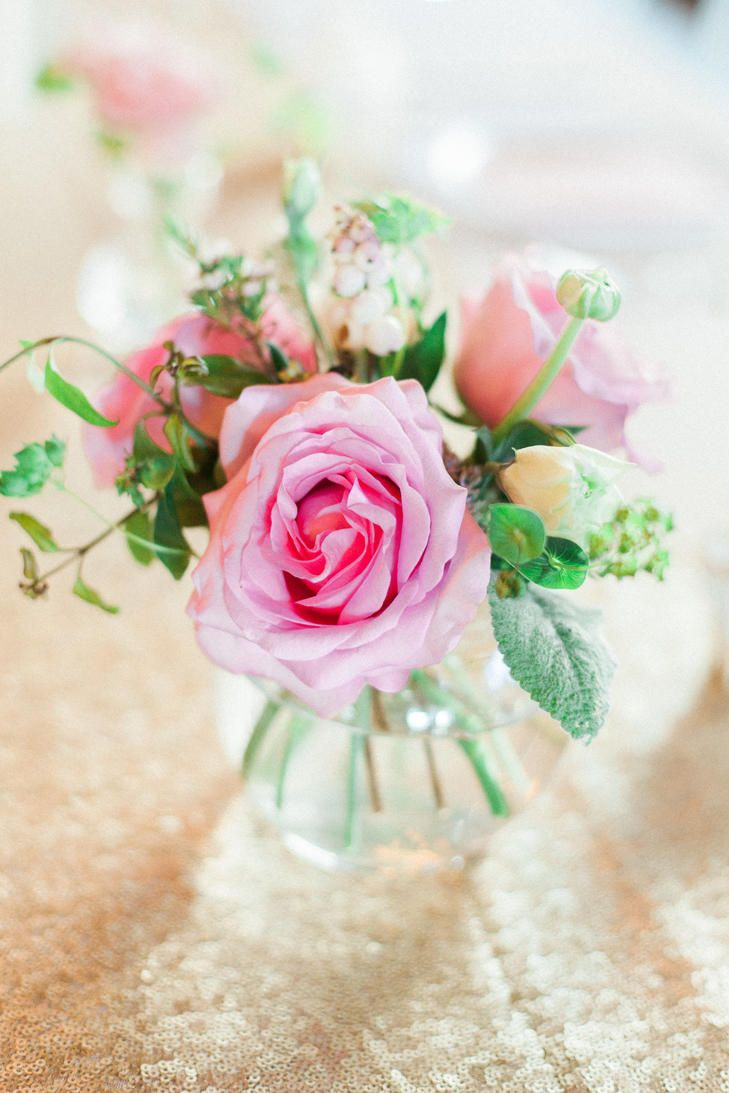 Pink Rose, Hypericum and Wax Flower Centerpieces | JUDY NUÑEZ ...