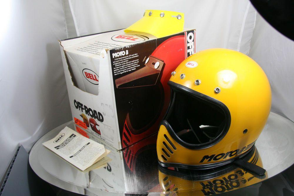 Vintage Yellow Bell Moto 3 Iii W Original Box 7 1 4 Clean Rare Motorcycle Helmet Bell Moto Bell Moto 3 Motorcycle Helmets