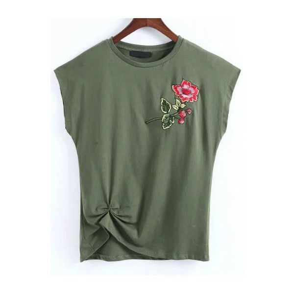 Army Green Flower Embroidery Cap Sleeve T-shirt ($18) ❤ liked on Polyvore