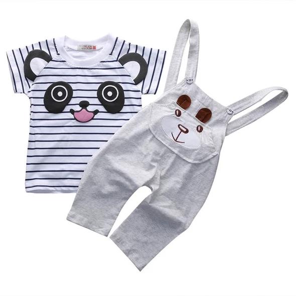 UK 2PCS Newborn Baby Boy Girl Bear T-shirt+Dungarees Bib Pants Outfits Clothes