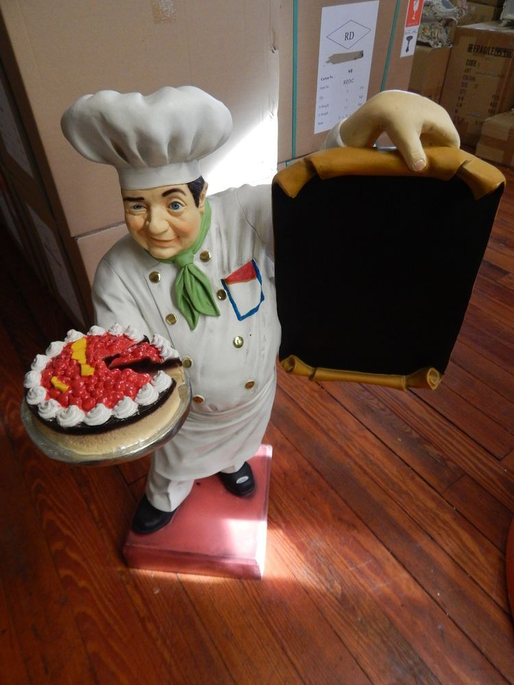 Very Nice Statue Of A Pastry Chef Holding A Menu Board. This Is An Attention