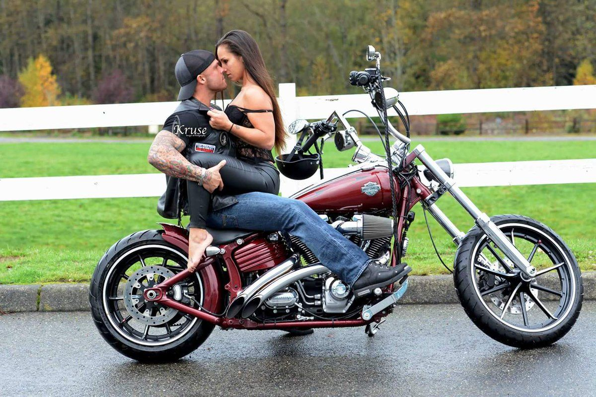 sexy couple on motorcycle