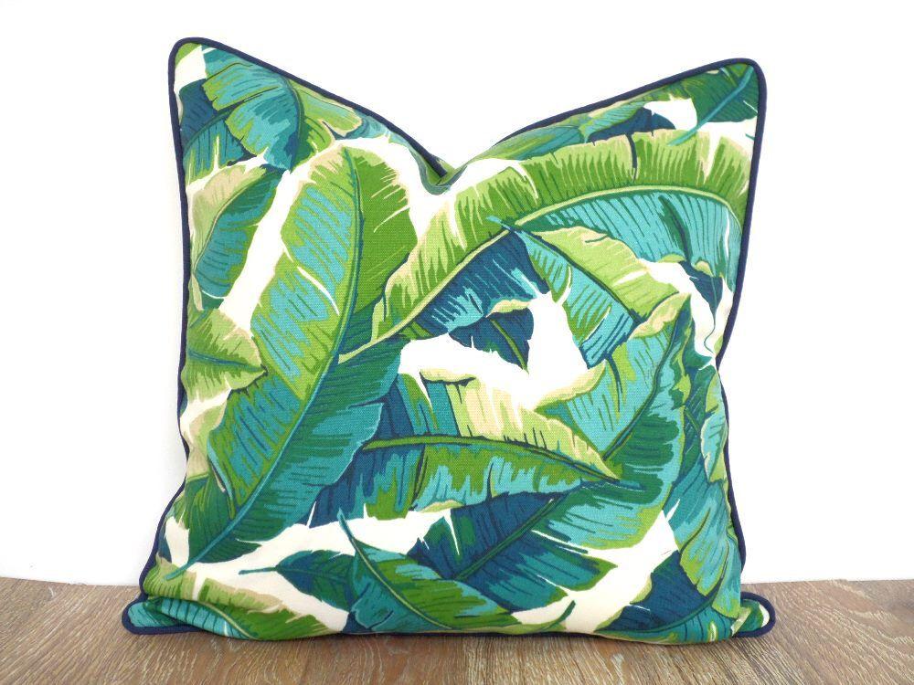 Tropical Outdoor Pillow Case, Green Outdoor Bench Cushion, Banana Leaf  Pillow, Green And