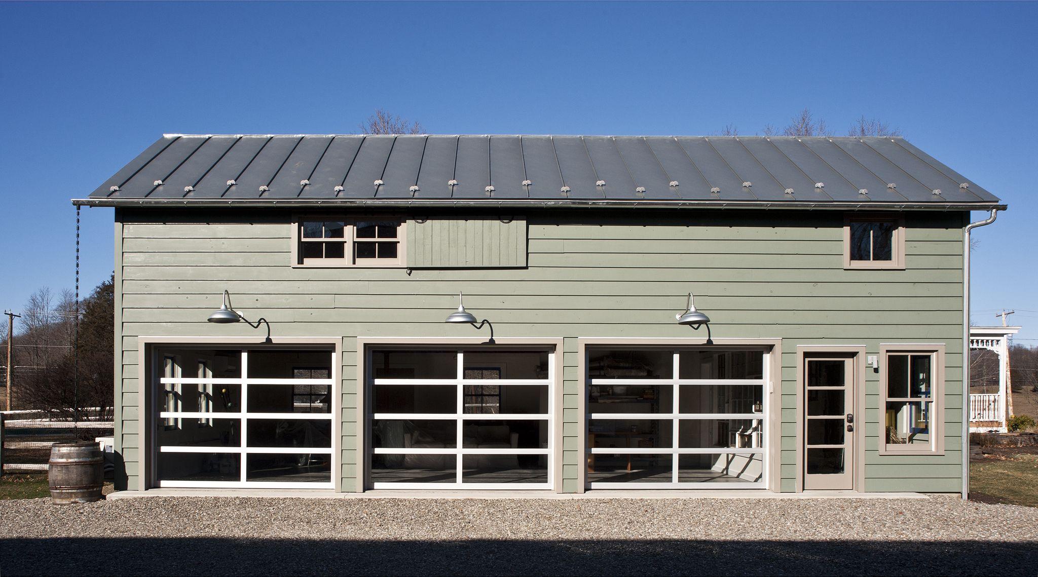 Historic Barn Conversion Into Artist Studio With Glass Garage Doors And Zinc Roof Glass Garage Door Contemporary Barn Zinc Roof