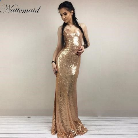 Christmas Night Party Dress Women Gold Sequin Long Dresses Floor ...