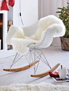 Gut Schaukelstuhl, Vitra, Eames Rocking Chair, Modern, Kunststoff;Metall;Holz,