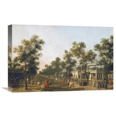 """Global Gallery 'View of the Grand Walk, Vauxhall Gardens' by Giovanni Antonio Canal Painting Print on Wrapped Canvas Size: 23.62"""" H x 36"""" W x 1.5"""" D"""