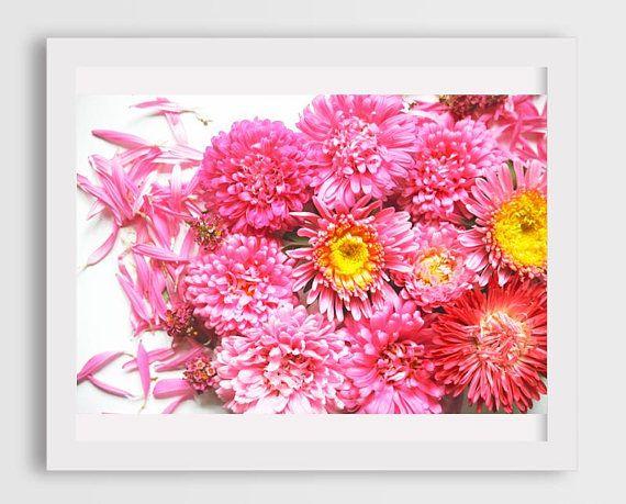 nursery flowers wall art, pink flowers living room decor ...